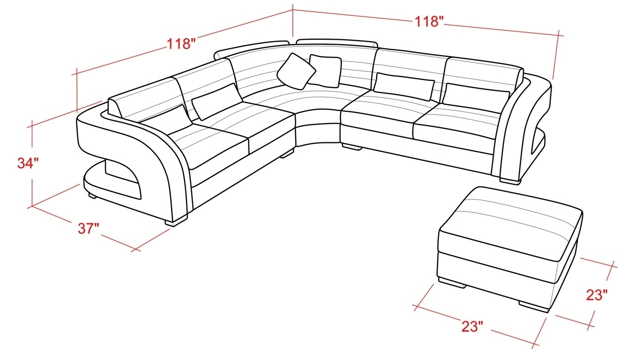 Home Decor: Wonderful Sectional Sofa Dimensions Combine With Average Regarding Sectional Sofas By Size (View 9 of 10)