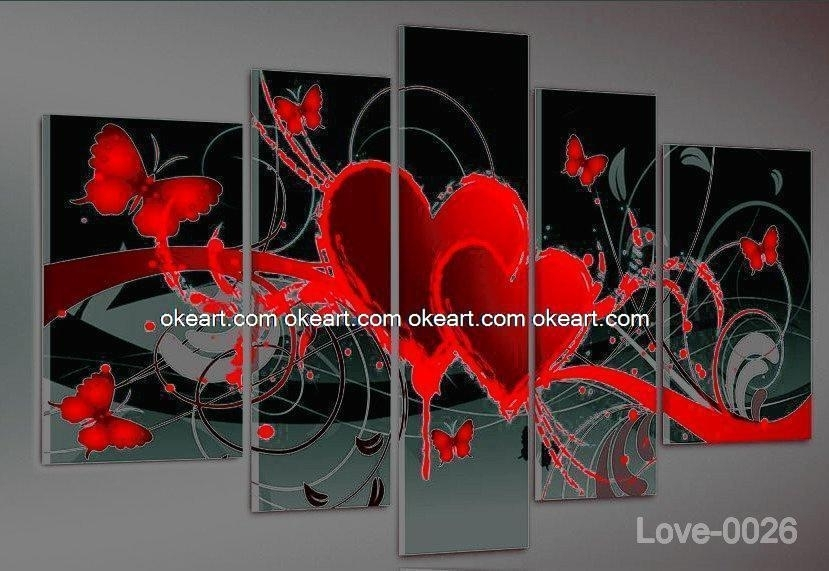 Home Decoration Abstract Oil Painting On Canvas Hand Painted In Abstract Heart Wall Art (View 14 of 15)