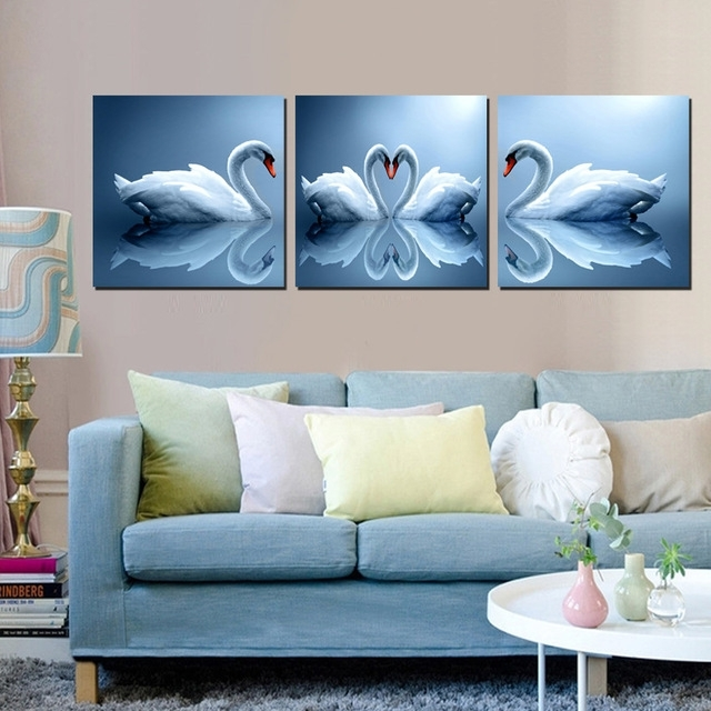 Home Decoration Wall Art Pictures, Pair Of Swan Painting Sweet With Canvas Wall Art Pairs (Image 12 of 15)