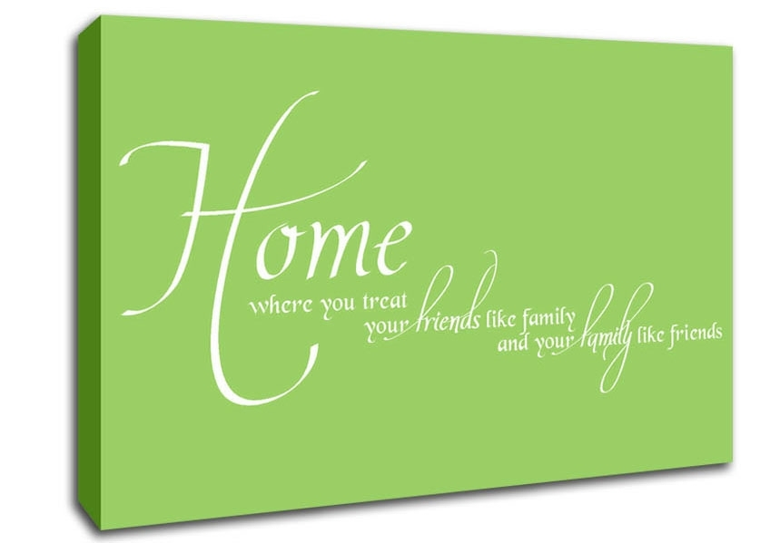 Home Family Friends Lime Green Text Quotes Canvas Stretched Canvas Intended For Canvas Wall Art Family Quotes (View 9 of 15)