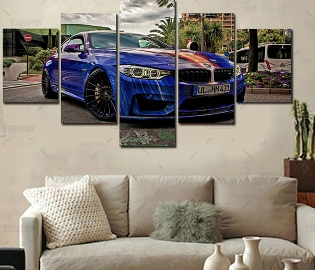 Home Wall Art Decor Frame Pictures Art Hd Modern 5 Panel Scenery Inside Bmw Canvas Wall Art (Image 8 of 15)