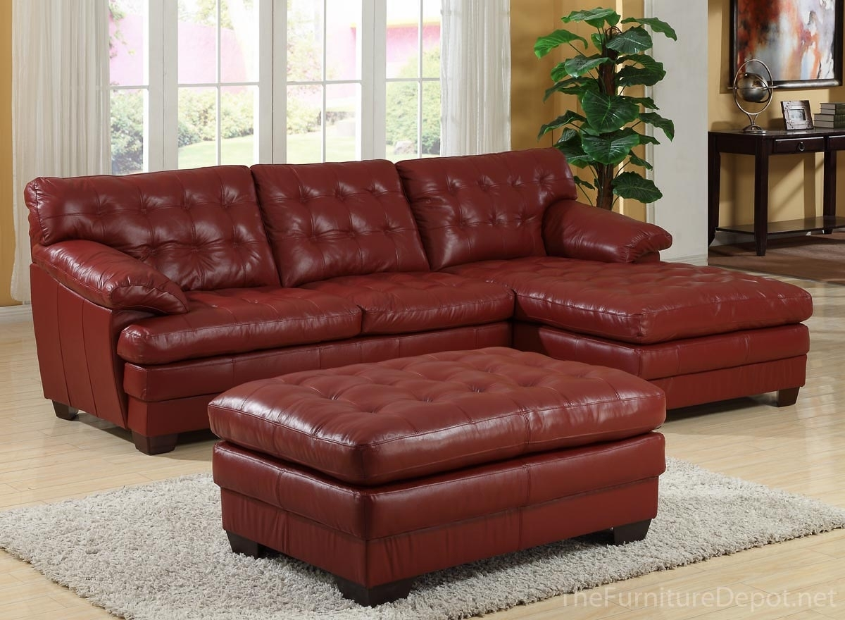 Homelegance 9817 All Leather Sectional Sofa Set – Red U9817Red Pertaining To Red Leather Sectional Sofas With Ottoman (Image 6 of 10)