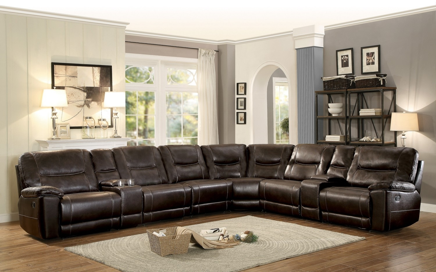 Homelegance Columbus Reclining Sectional Sofa Set A – Breathable With Regard To Reclining Sectional Sofas (Image 9 of 10)