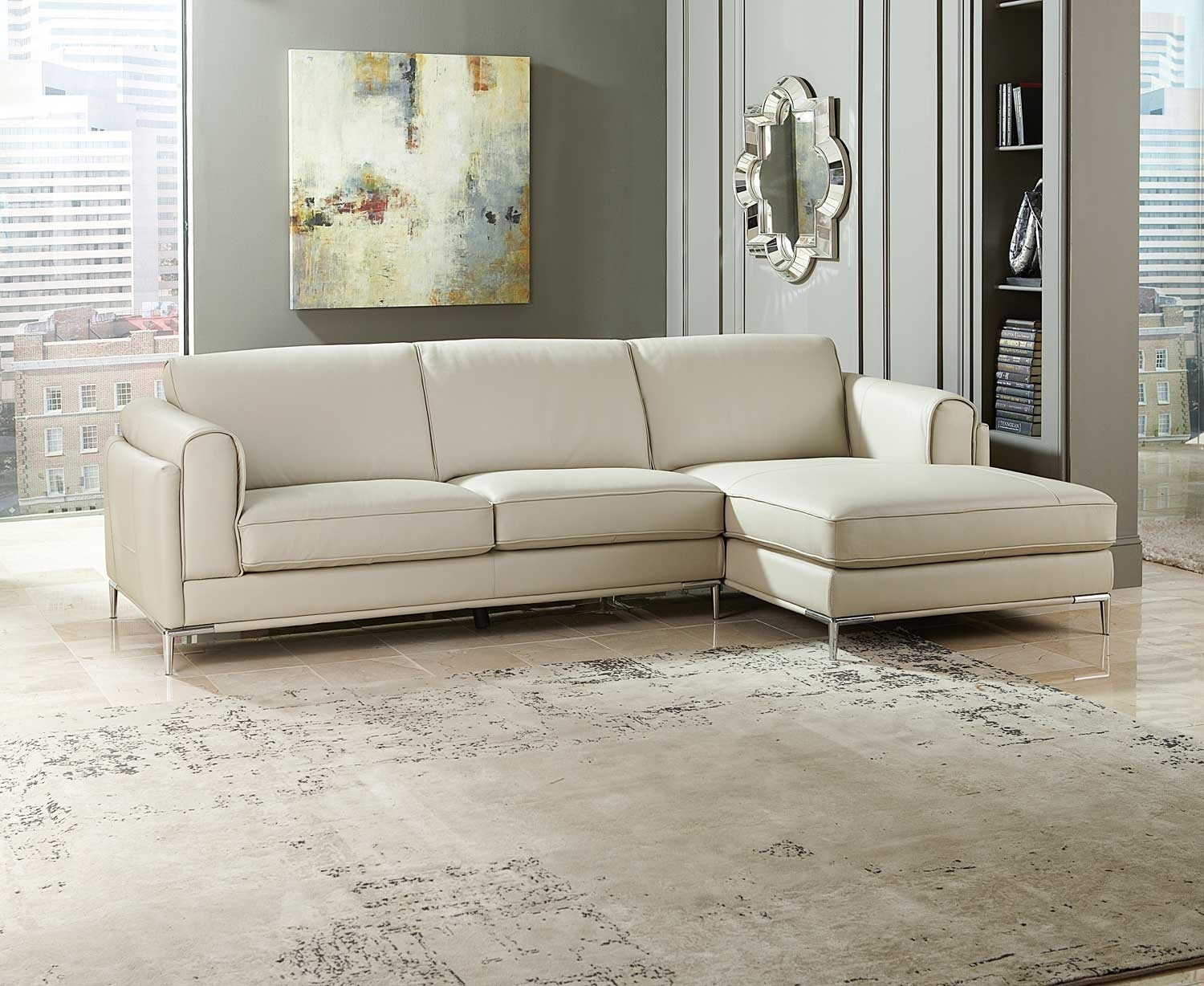 Homelegance Hugo Sectional Sofa – Beige Top Grain Leather & Split Throughout Beige Sectional Sofas (Image 5 of 10)