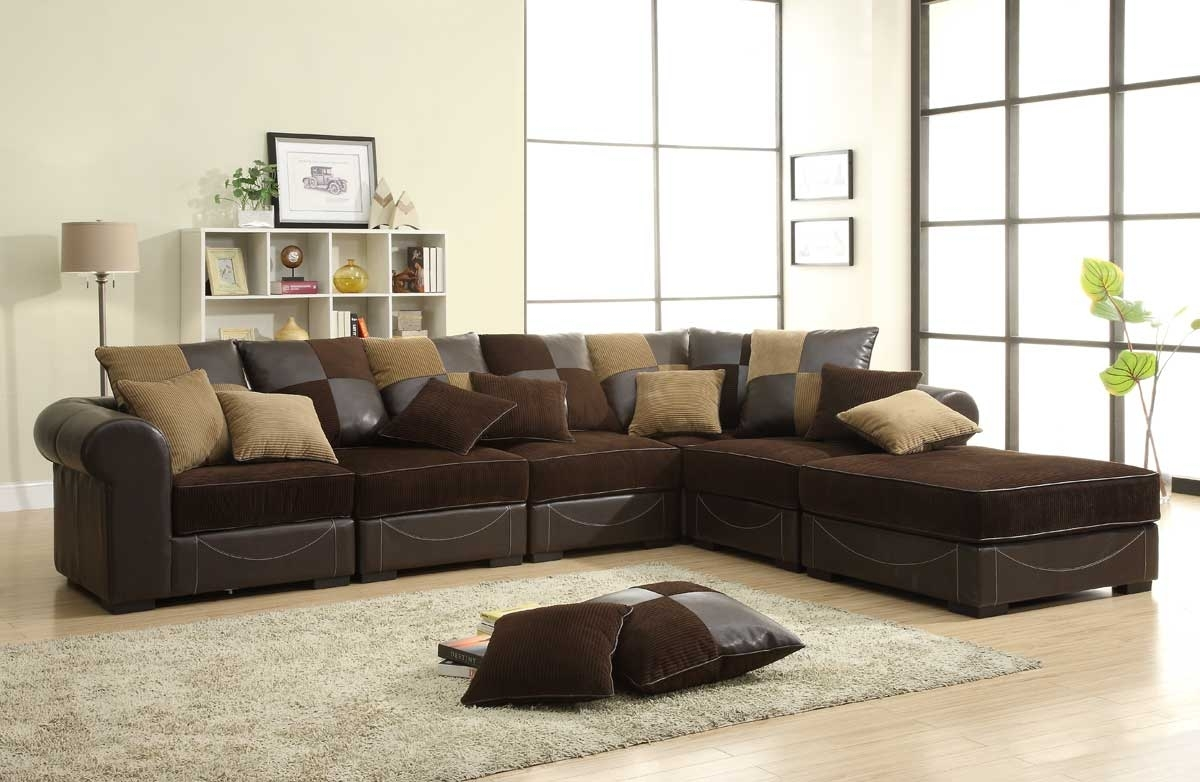 Homelegance Lamont Modular Sectional Sofa Set B – Chocolate Corduroy Within Chocolate Brown Sectional Sofas (Image 7 of 10)