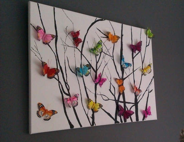 Homemade Painting On Canvas With Attached Butterflies (From Any Within Fabric Butterfly Wall Art (Image 10 of 15)