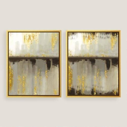 Horizon Gold Canvas Wall Art For Abstract Leaves Wall Art (Image 9 of 15)