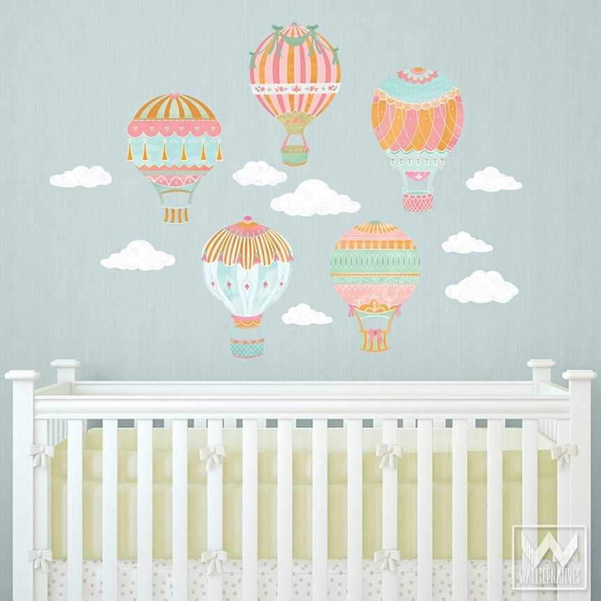 Hot Air Balloons Sky Clouds Wall Print Fabric Wall Decal Nursery Throughout Baby Nursery Fabric Wall Art (Image 10 of 15)