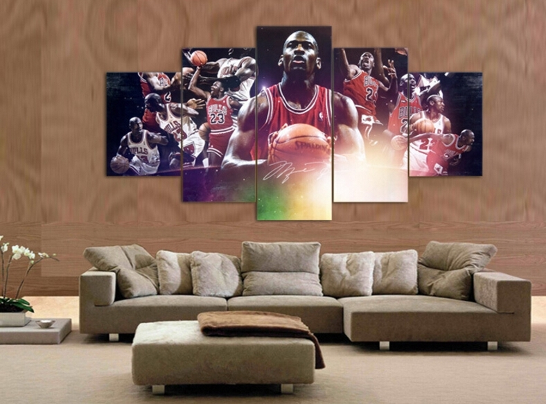 Hot High Quality 4Pcs Abstract Canvas Painting Michael Jordan Star Throughout Michael Jordan Canvas Wall Art (Image 4 of 15)