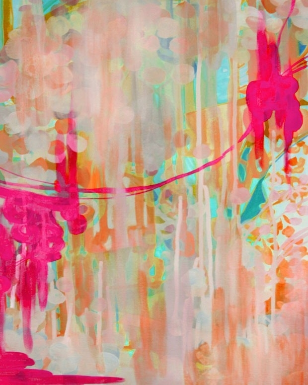 Hot Pink Abstract Wall Art | Little Crown Interiors With Pink Abstract Wall Art (View 2 of 15)