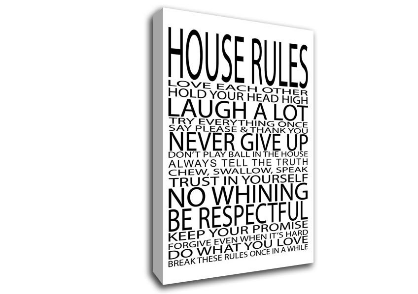 House Rules Love Each Other Text Quotes Canvas Stretched Canvas Pertaining To Canvas Wall Art Family Quotes (View 6 of 15)
