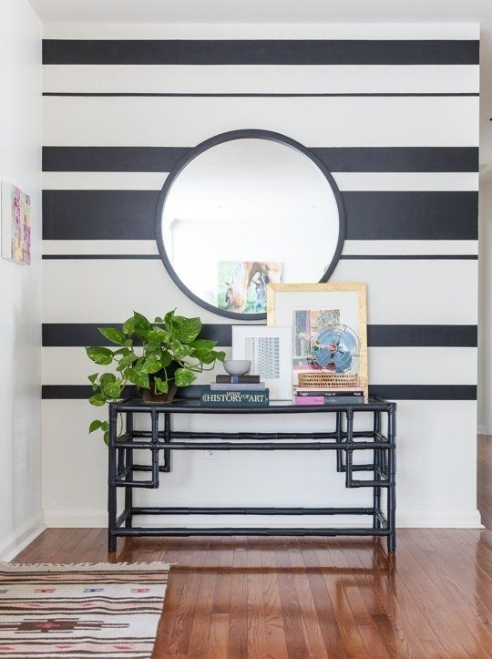 House Tour: An Art Filled Family Home In Ontario | Striped Walls Regarding Horizontal Stripes Wall Accents (Image 8 of 15)