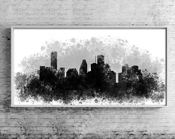 Houston Canvas Art Print Gift Houston Wall Art Cityscape Intended For Houston Canvas Wall Art (View 8 of 15)