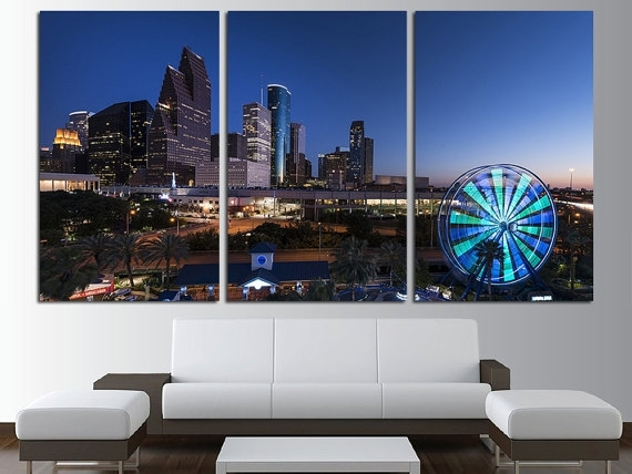 Houston Night Lights Canvas Wall Art Set Cityscape Wall Art Intended For Houston Canvas Wall Art (View 3 of 15)