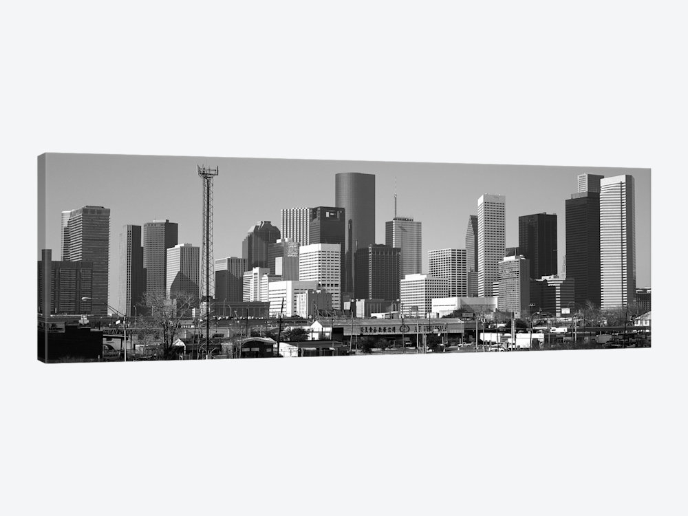 Houston Panoramic Skyline Cityscape (Black & White) Canvas Art For Houston Canvas Wall Art (View 2 of 15)