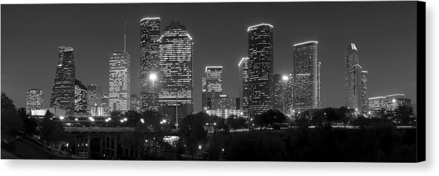 Houston Skyline At Night Black And White Bw Canvas Print / Canvas For Houston Canvas Wall Art (View 10 of 15)