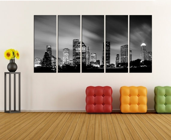 Houston Skyline Wall Art Canvas Print Canvas Art Extra Large Inside Houston Canvas Wall Art (View 4 of 15)