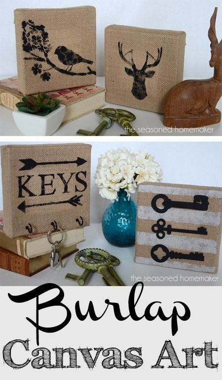 How I Made Fancy Burlap Canvas Wall Art In Five Minutes – The Inside Burlap Fabric Wall Art (Image 12 of 15)