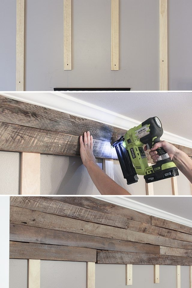 How To Create A Wood Pallet Accent Wall | Pallet Accent Wall, Wood Regarding Wood Pallets Wall Accents (Image 7 of 15)