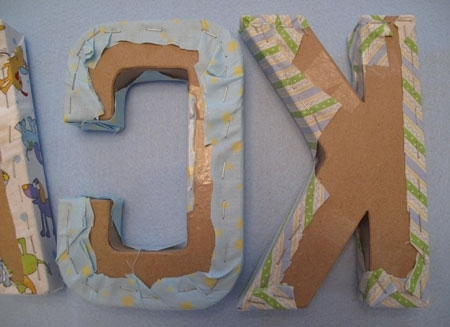 How To Make A Baby Name Wall Hanging With Fabric Letters For Fabric Wall Art Letters (Image 11 of 15)