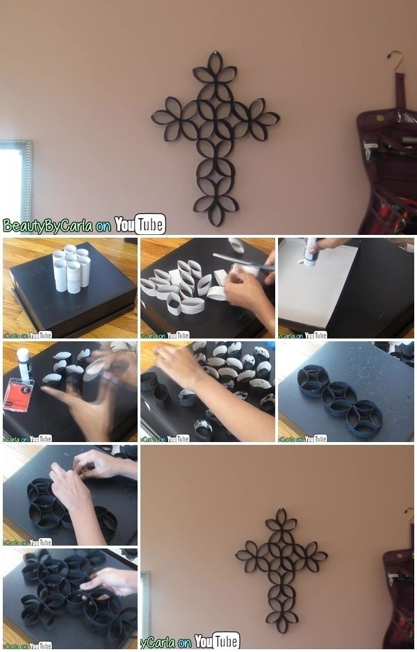 How To Make Toilet Paper Roll Cross Wall Art – Http://centophobe In Diy Fabric Cross Wall Art (Image 12 of 15)