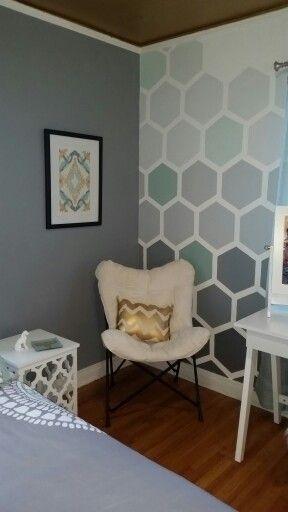 How To Tape & Paint Hexagon Patterned Wall | Graphic Wall, Ombre Intended For Wall Accents Without Paint (View 10 of 15)