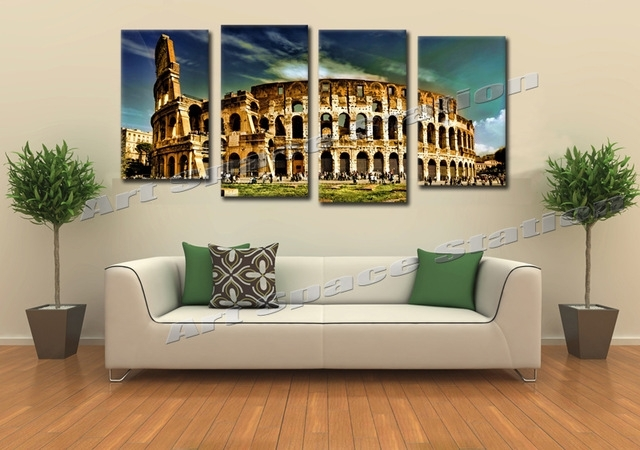 Huge Buildings Rome Colosseum Arena Giclee Canvas Prints Famous With Regard To Canvas Wall Art Of Rome (View 10 of 15)