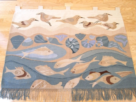 Huge Danish Modern Tapestry / Textile Wall Art Hanging / Wool Throughout Mid Century Textile Wall Art (View 6 of 15)