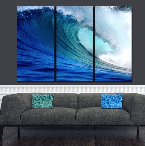 Huge Ocean Wave On Canvas Large Wall Art Ocean Canvas Blue Within Ocean Canvas Wall Art (Image 10 of 15)