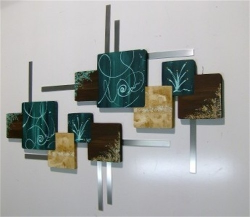 Huge Teal Brown Contemporary Abstract Wood And Metal Wall Hangings Throughout Geometric Modern Metal Abstract Wall Art (Image 8 of 15)