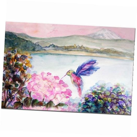 Hummingbird's Joy Canvas Wall Artwendra 14W X 19H In (Image 8 of 15)