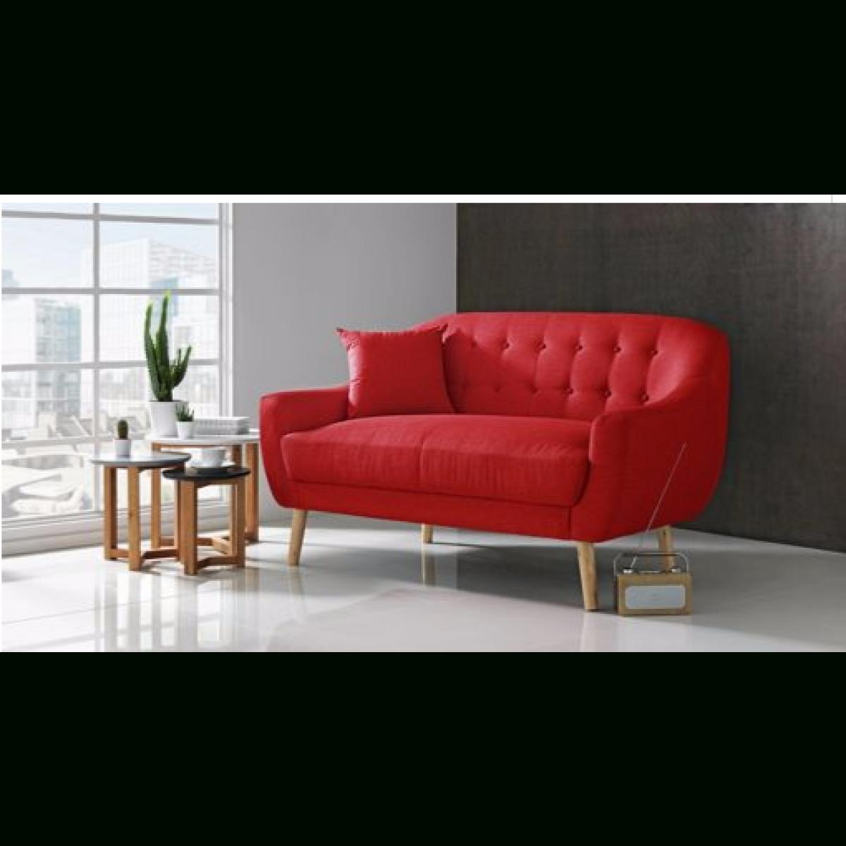 Hygena Lexie Retro Compact Fabric 2 Seater Sofa – Poppy Red For Retro Sofas (View 3 of 10)