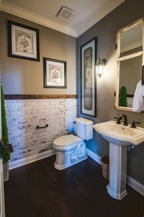 I Like The Idea Of A Brick Accent Wall In The Bathroom | Bathroom With Wall Accents Behind Toilet (Image 7 of 15)