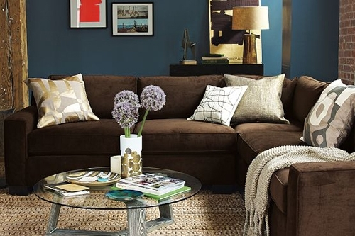 I Love The Blue Walls And Brown Couch, So Warm And Cozy | For The Intended For Brown Couch Wall Accents (Image 5 of 15)