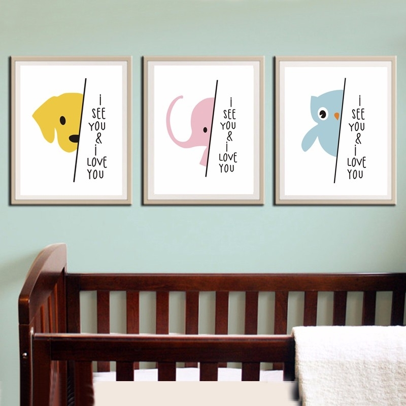 I See You And I Loveyou Quotations Cartoon Elephant Dog Bird Intended For Modern Nursery Canvas Wall Art (View 9 of 15)