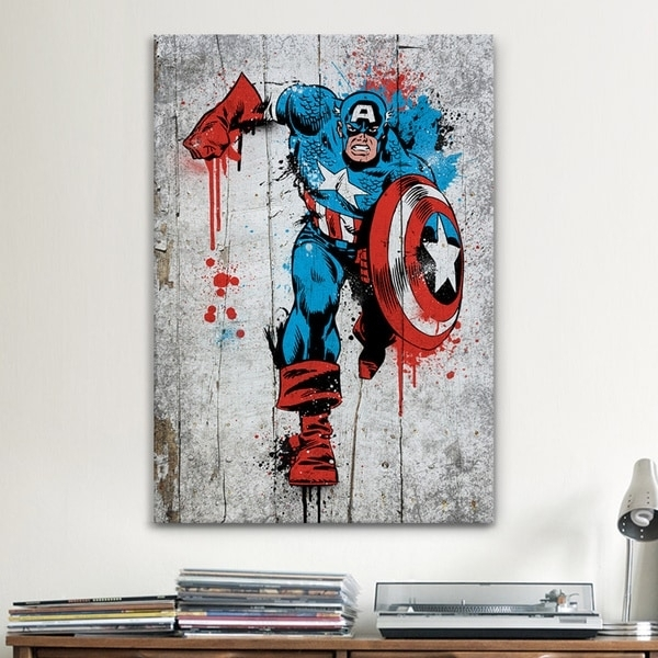 Icanvas Marvel Comic Book: Captain America Spray Paint Canvas Inside Marvel Canvas Wall Art (Image 9 of 15)