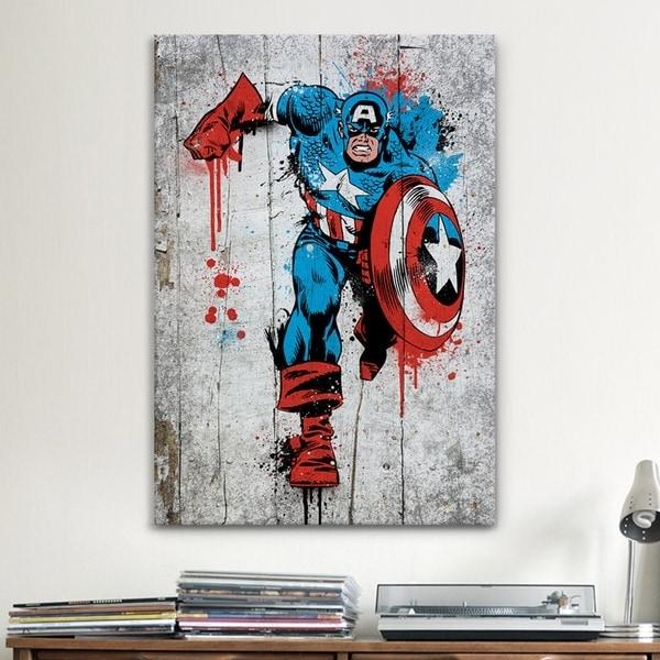 Icanvas Marvel Comic Book: Captain America Spray Paint Canvas Inside Marvel Canvas Wall Art (Image 9 of 15)