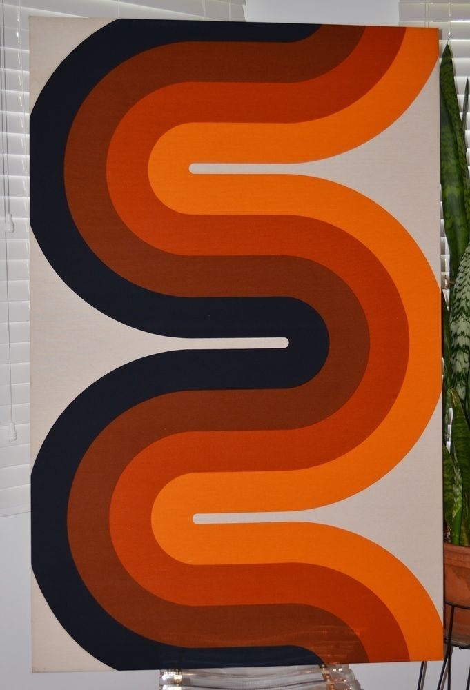 Iconic Vintage Panton Style Mid Century Pop Art Wall Hanging Curve Within Mid Century Textile Wall Art (View 2 of 15)