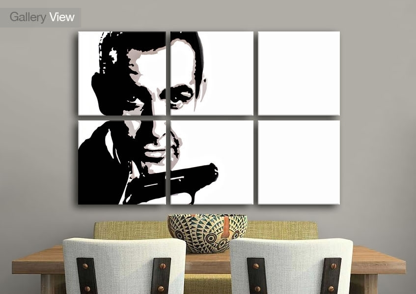 Icons Six Panel Sean Connery James Bond Icons Canvas Prints With Regard To James Bond Canvas Wall Art (Image 3 of 15)