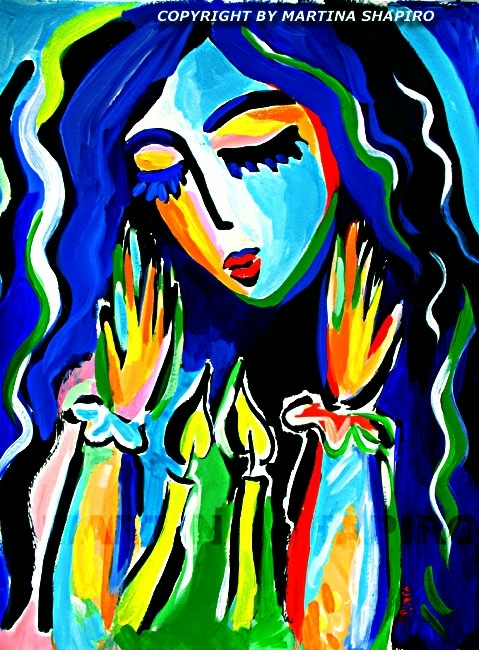 Illumination, Jewish Art, Shabbat Original Acrylic Painting Regarding Jewish Canvas Wall Art (View 11 of 15)