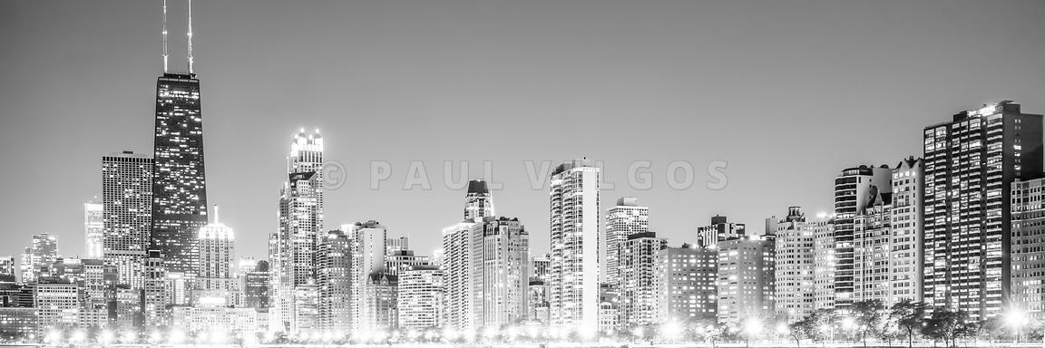 Image: Chicago Skyline Gold Coast Panorama Photo Large Canvas In Gold Coast Canvas Wall Art (Image 12 of 15)