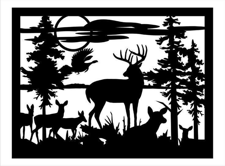 Image Result For Black And White Wild Deer Wall Art | Crafts Pertaining To Fabric Animal Silhouette Wall Art (View 5 of 15)