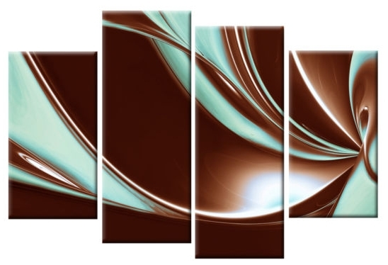 In Brown And Duck Egg Blue Large Canvas Abstract 4 Panel Wall Art Inside Blue And Brown Canvas Wall Art (View 11 of 15)
