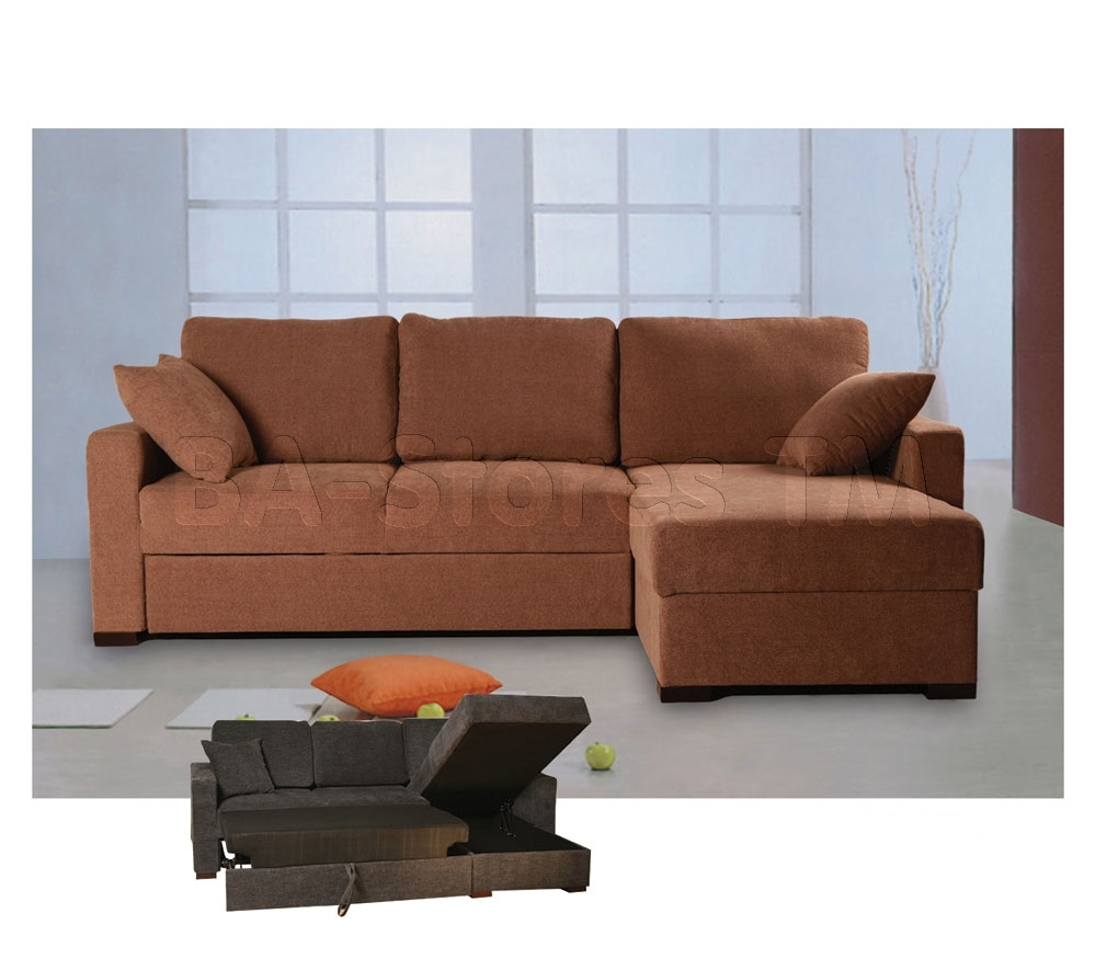 Incognito Sectional Sofa Bed | Storage Chaise | Cocoa Finish With Sectional Sofas With Storage (View 4 of 10)