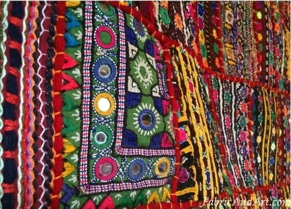 Indian Art, Tribal Wall Hangings, Sari Quilts In Indian Fabric Art Wall Hangings (View 3 of 15)