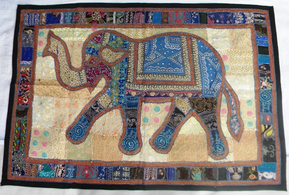 Indian Droplet Style Hanging Tapestry – Indian Antique Style Within Elephant Fabric Wall Art (Image 8 of 15)