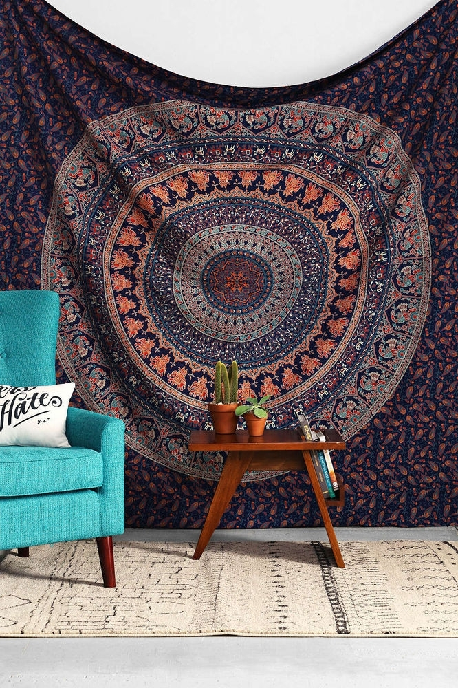 Indian Elephant Mandala Hippie Tapestry Wall Hanging Twin Single In Aztec Fabric Wall Art (View 11 of 15)