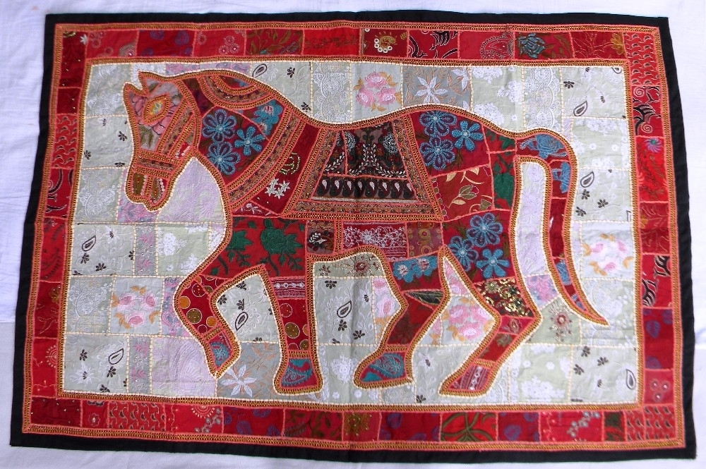 Indian Old Fabric Wall Decor With Horse Figure – Handworked Cotton Within Indian Fabric Wall Art (Image 9 of 15)