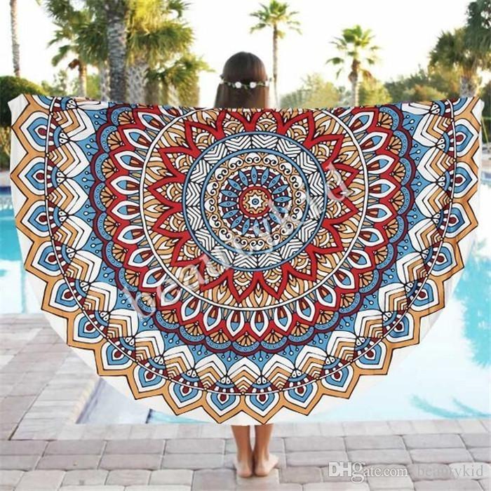 Indian Round Mandala Tapestry Boho Chiffon Round Beach Towels Inside Round Fabric Wall Art (Image 10 of 15)
