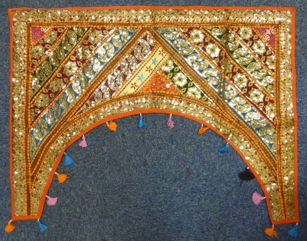 Indian Sparkly Fabric Patchwork Door Arch Wall Hanging ― Pilgrims Regarding Indian Fabric Wall Art (Image 10 of 15)